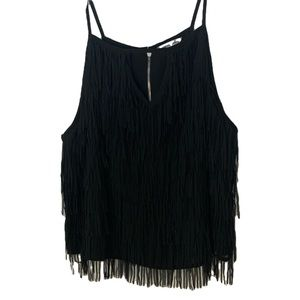 Black Fringe Strappy Tank Top With Front Keyhole